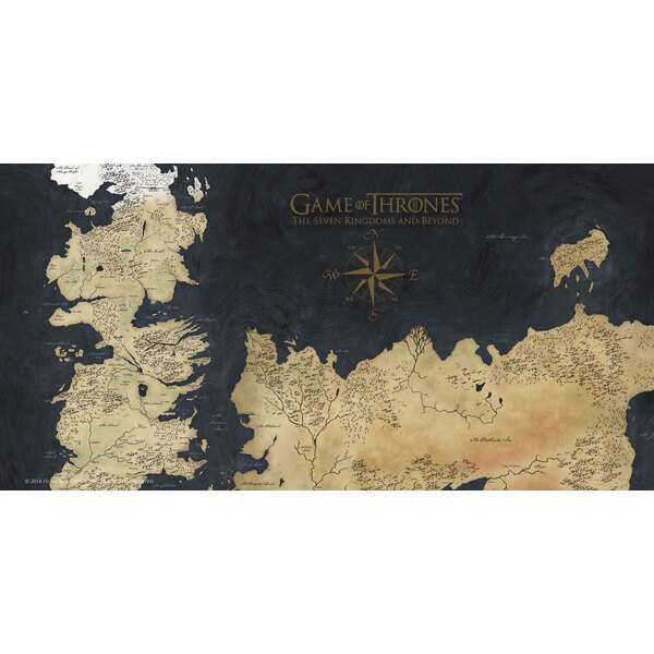 Game Of Thrones Glass Poster Westeros Map 50 x 25 cm