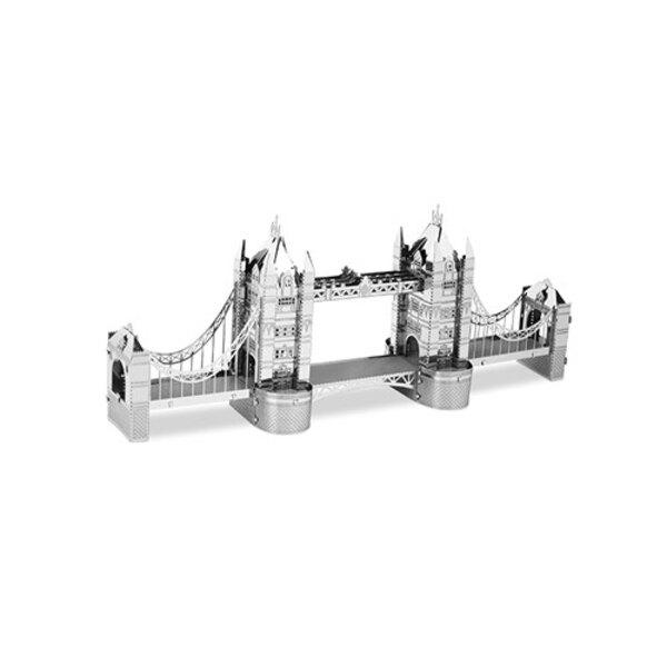 Architettura MetalEarth: PONTICELLO TOWER DI LONDRA 13,87x1,98x5,65cm, modello in metallo 3D con 2 fogli, su carta 12x17cm, 14+