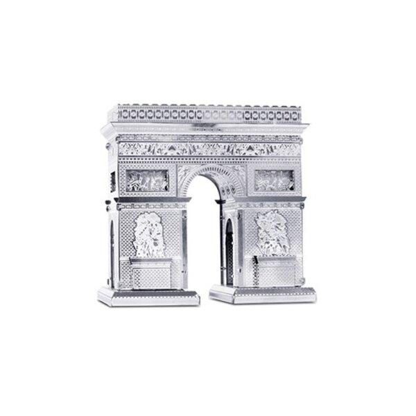 Architettura MetalEarth: ARC DE TRIOMPHE 5.55x5.94x2.28cm, modello in metallo 3D con 2 fogli, su carta 12x17cm, 14+