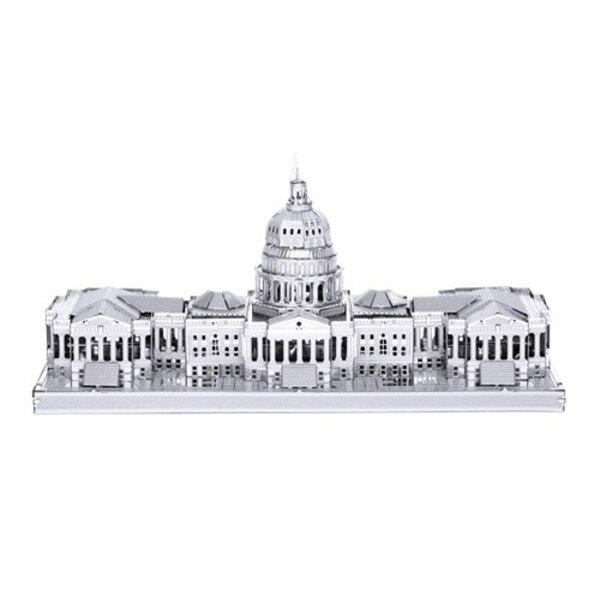Architettura MetalEarth: US CAPITOL 10.7x4x5cm, modello metallo 3D con 2 fogli, su carta 12x17cm, 14+