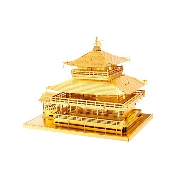 Architettura MetalEarth: GOLD KINKAKU-JI 8,9x6x6,5cm, modello 3D in metallo con 3 fogli, su carta 12x17cm, 14+