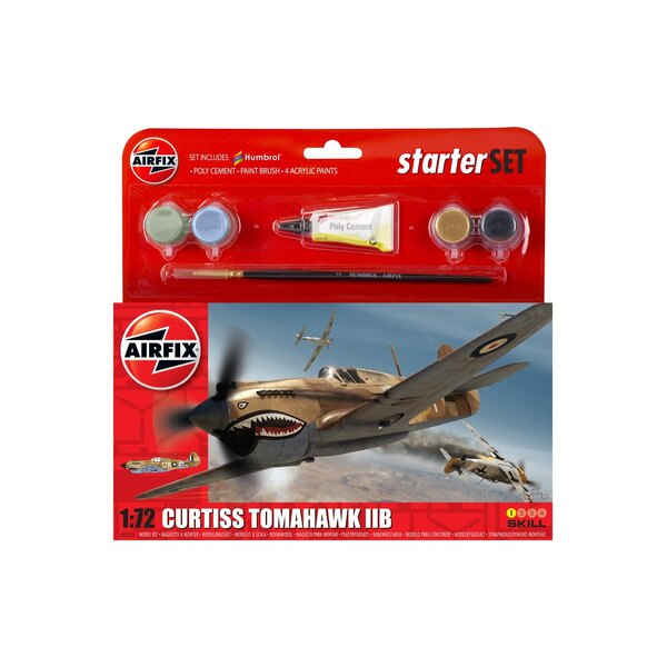 Curtiss P-40B Starter Set includes Acrylic paints brushes and poly cement