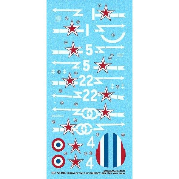 Decalcomania Yakovlev Yak-3 Normandie-Niemen: n∞ 1 Cne Marcel Albert 20/06/1945, n ° 5 S / Lt Roger Sauvage 20/06/1945, n ° 22 A