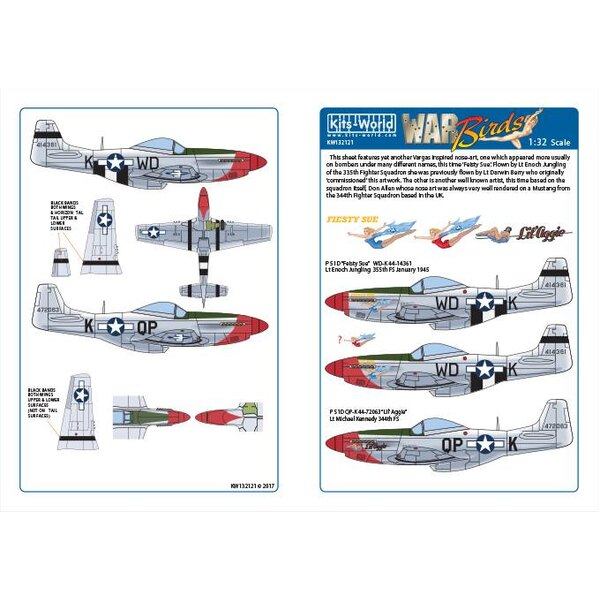 Decalcomania P-51D-10-NA nordamericano Mustang 44-14361 WD-K Fiesty Sue