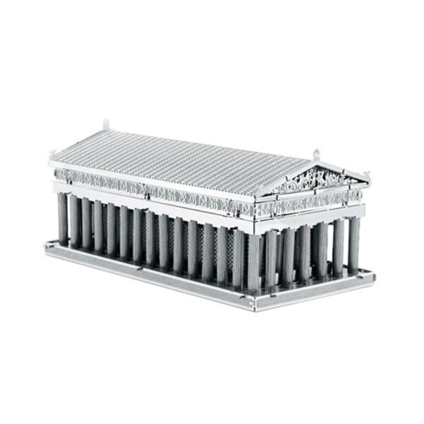 Architettura MetalEarth: PARTHENON 3.5x4.2x8.2cm, modello in metallo 3D con 3 fogli, su carta 12x17cm, 14+