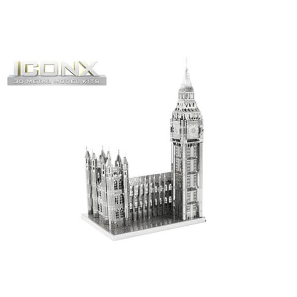 MetalEarth: ICONX - BIG BEN 12,7x6x8cm, modello in metallo 3D con 2 fogli, in scatola 13,5x22x2cm, 14+