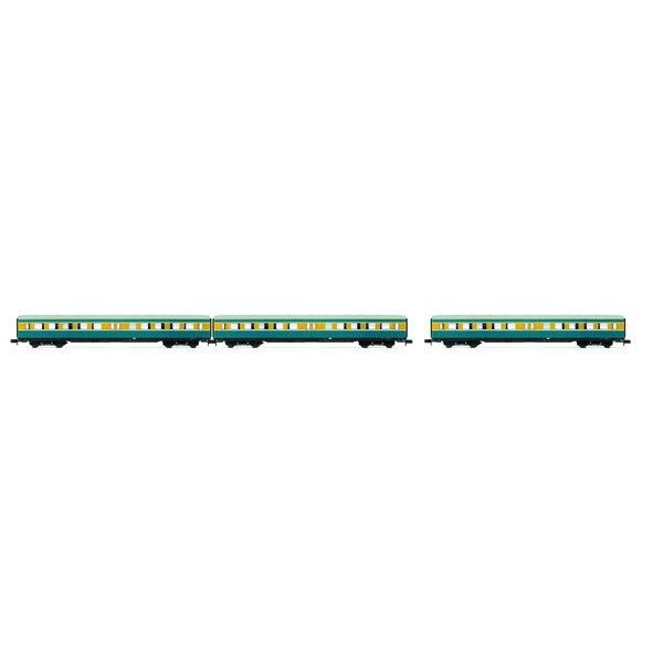 """Impostare """"S-Bahn Leipzig"""" - 3 pullman senza cabina di guida, DR, periodo IV, livrea blu / giallo"""