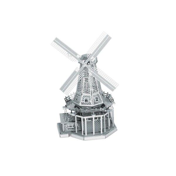 MetalEarth Altro: WIND MILL 10x4.5x5.2cm, modello in metallo 3D con 2 fogli, su carta 12x17cm, 14+