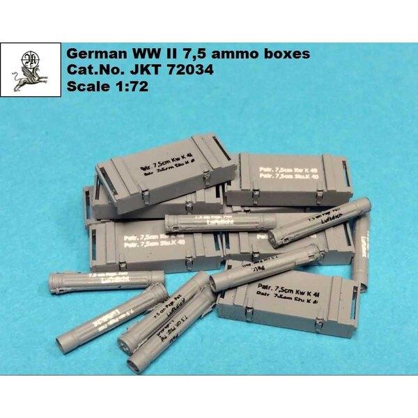Scatole di munizioni tedesche della seconda guerra mondiale da 7,5 cm