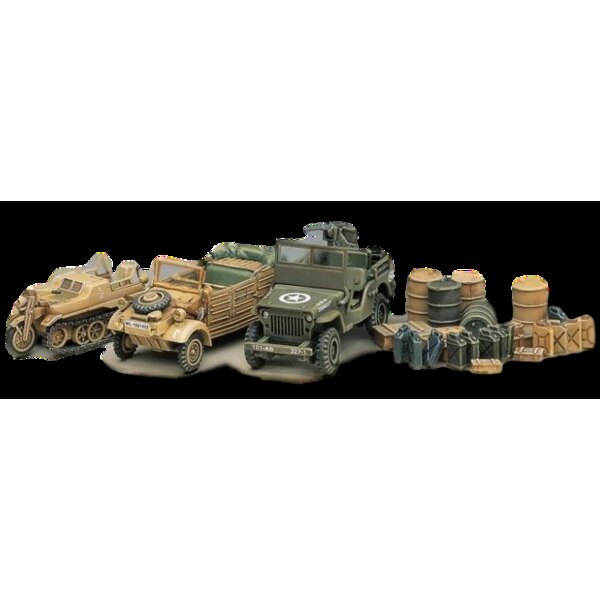 WWII vehicle set. Kubelwagen Kettenkrad Willys Jeep diorama base jerry cans crates.