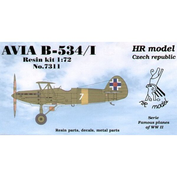 Avia B-534/I with open cockpit. Decals for Slovakia with photo-etched parts.