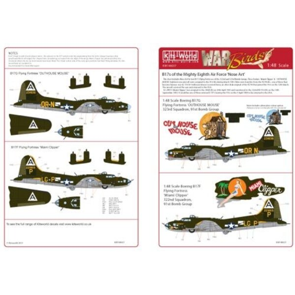 Decalcomania Boeing B-17F/Boeing B-17G 322nd BS 91st BG ′Miami Clipper′ - 323rd BS 91st BG ′Out -House Mouse′