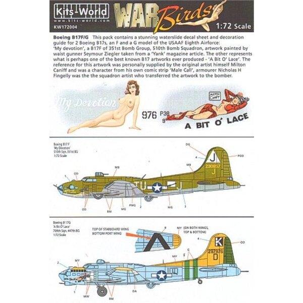 Decalcomania Boeing B-17F/Boeing B-17G Flying Fortress (2) 230857 TU-J/J My Devotion 297976/K 709th BS 447th BG A Bit o′ Lace. I