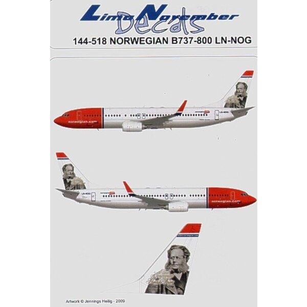 Decalcomania Boeing 737-800 NORWEGIAN LN-NOG `Henrik Ibsen′