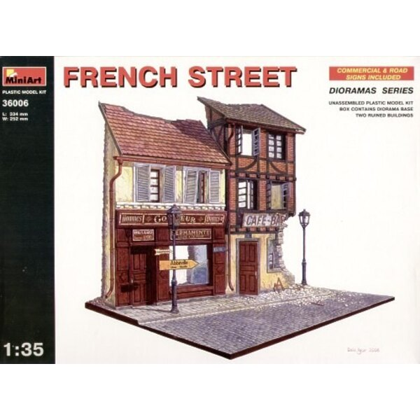 French Street. Ruined shop and bar front