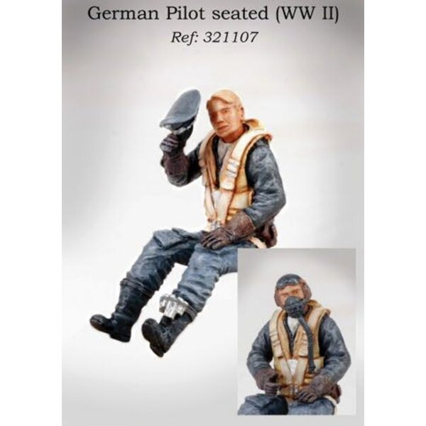 Luftwaffe Pilot WWII seated in aircraft with optional flying helmet or hat