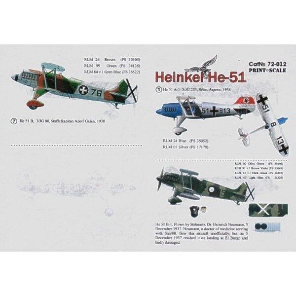 Heinkel He 51 (7) 51+B13 3/JG 233 Vienna 1938 Z-85 Dr Heinrich Neumann Spain 1937 2-9 JG 88 Condore Legion GA+VK Zagreb 1942 2-5