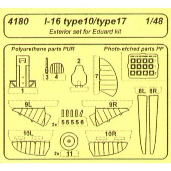 Polikarpov I-16 type 10/17 exterior (per i kit modello da Eduard)