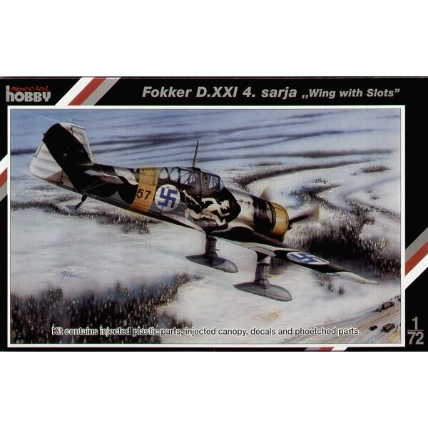Fokker D.XXI IV seri with twin wasp engine and wing with slots.