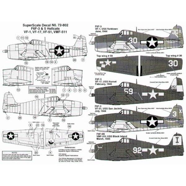 Grumman F6F-3/5 Hellcats (4) No 30/K VF-1 USS Yorktown No 3/X VF-51 USS San Jacinto both 1944 3 tone schems No 59 VF-17 USS Horn