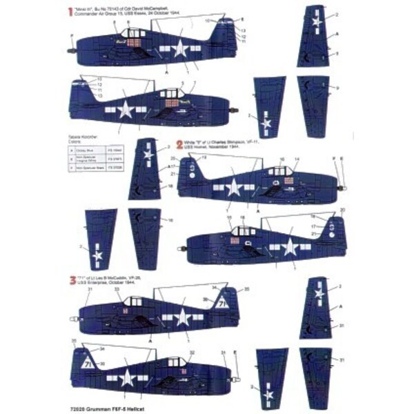 Grumman F6F-5 Hellcat (4) White 25 VF-19 Bruce Williams USS Lexington 1944 3 tone camouflage Minsi III Cdr McCampbell CAG 15 USS