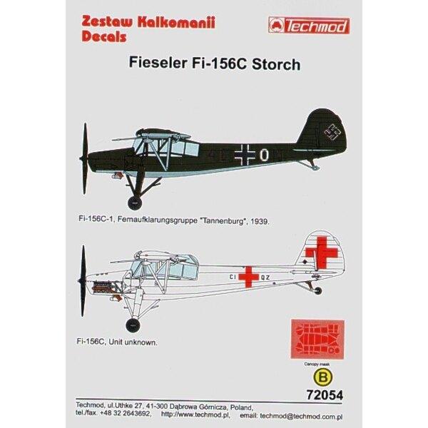 Decalcomania Fieseler Fi 156C Storch (2) Luftwaffe 4E+ON Fernaufklanrungsgruppe `Tannenburg′ 1939 CI+QZ Air Ambulance overall wh