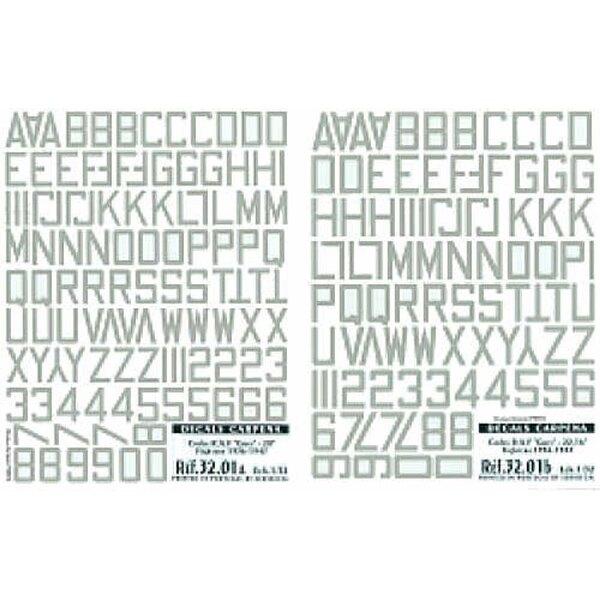 Medium Sea Grey RAF Code Letters/Numbers 20 (RAF codes/RAF code letters/RAF serial numbers)