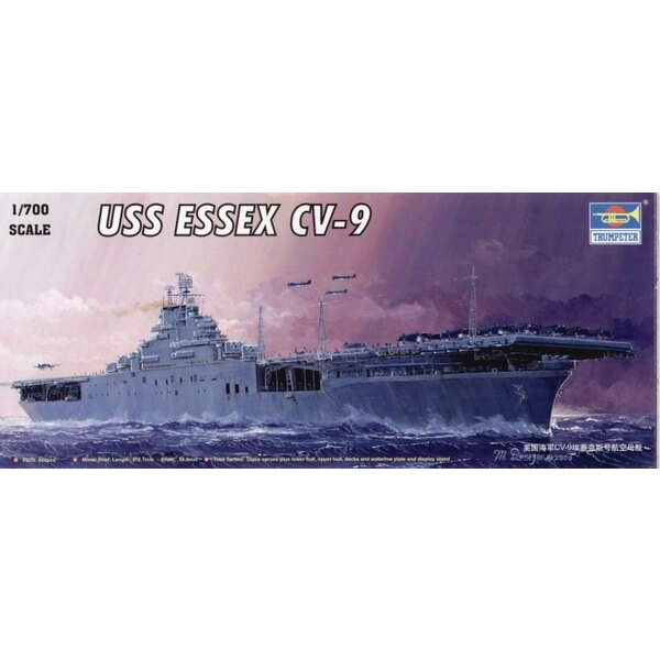 USS Essex CV-9 aircraft carrier with blue vac-formed sea base