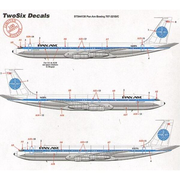 Decalcomania Boeing 707-321B/C PAN AM late scheme 16 registrations N401PA etc