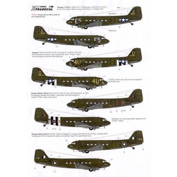 Decalcomania Douglas C-47 Dakota Skytrain/Dakota (4) 43-16026 E5-X 62 TCS `Witch Hazel′ Rhine crossing 3/1945 42-100766 4U-D 89T