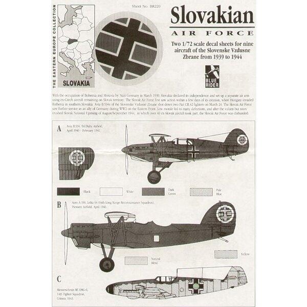 Slovak Air Force WWII. Avia B-534 Aero A-100 Messerschmitt Bf 109E & Messerschmitt Bf 109G Junkers Ju 87D Stuka Heinkel He 111