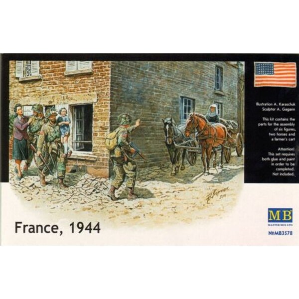 France 1944. Includes 3 x soldiers including 1 carrying child, 1 helping young lady, 1 cart, 2 horses and Nun.