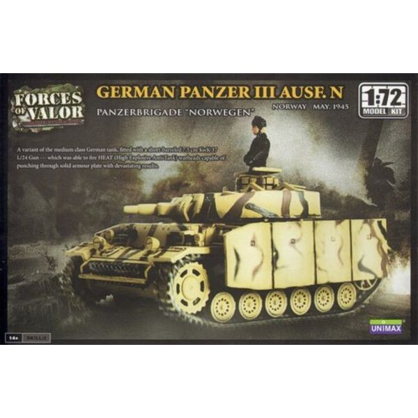 PANZER III AUSF.N TANK - WARNING : this is a model kit and NOT a ready built miniature