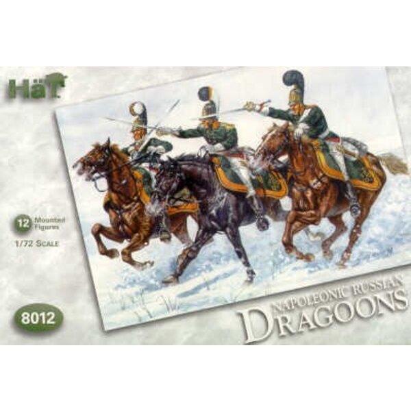 Napoleonic Russian Dragoons. 12 mounted figures. Early style helmet.