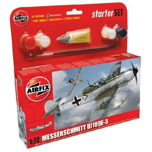 Messerschmitt Bf 109E-3 Starter Set includes Acrylic paints, brushes and poly cement