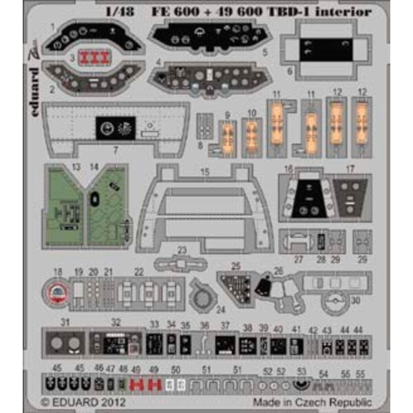 Douglas TBD-1 Devastator interior (self adhesive) (designed to be used with Great Wall Hobby kits)