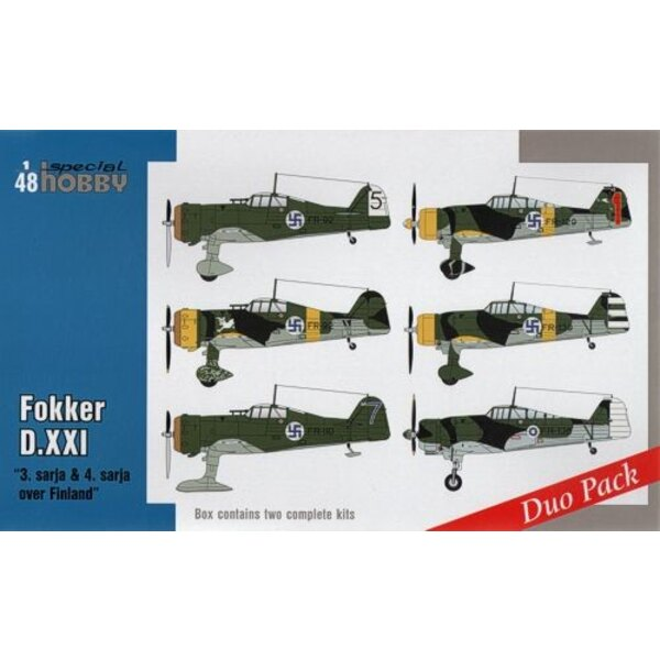 """Fokker D.XXI Duo Pack """"3.sarja & 4.sarja over Finland"""" Seven Fokkers D.XXI were delivered to Finland in 1937. Three years later,"""