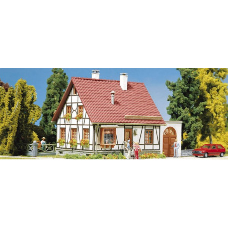 Timbered house with garage