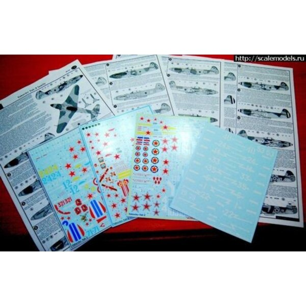 Decalcomania Yakovlev Yak-3 family. Decal set consist from 4 big decal sheets and 8 format A3 instruction pages. Fantastic choic