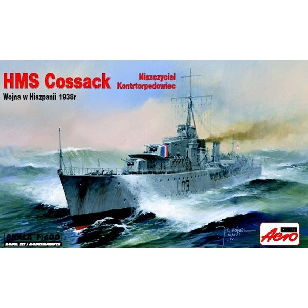 HMS Cossack Tribal Class Destroyer. Includes display stand.