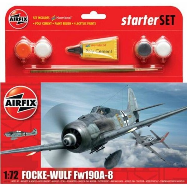 Focke Wulf Fw 190A-8 Starter Set includes Acrylic paints, brushes and poly cement
