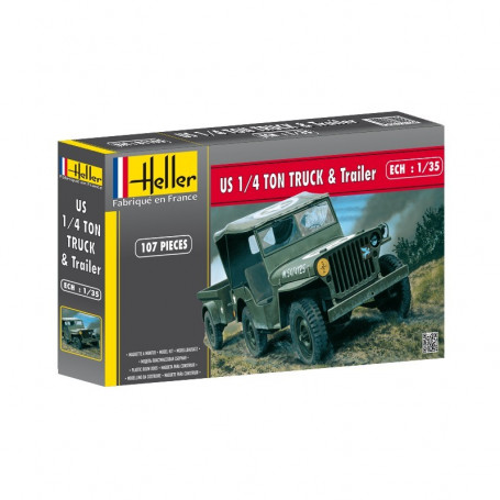 Jeep Willis+Trailer 1:35