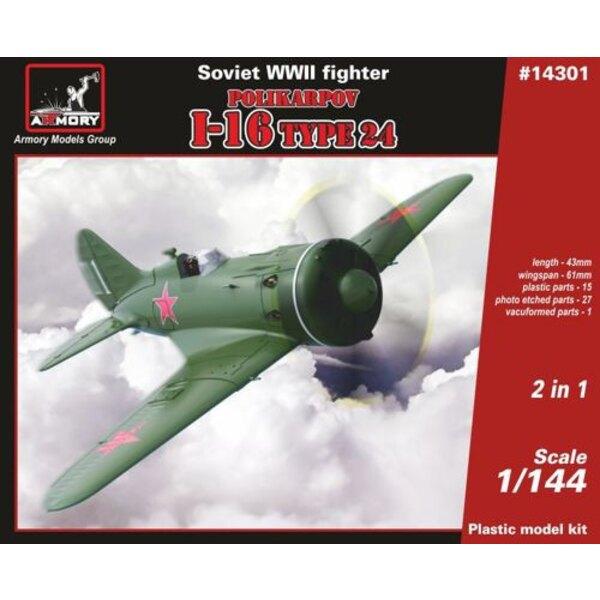 Polikarpov I-16 di tipo 24, caccia sovietico della seconda guerra mondiale.Include 2 kit nella scatola, con PE e parti vacuform