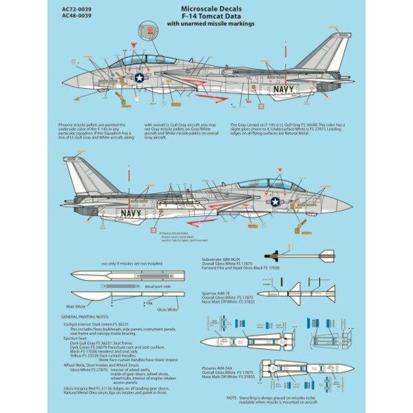 Decalcomania Foglio Grumman F-14 Tomcat dati: Contiene Un-Armed Missile Marcature [F-14A F-14B F-14C F-14D]