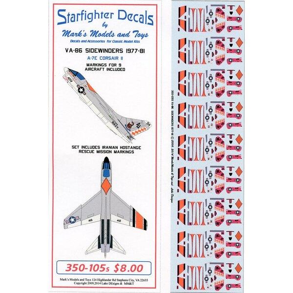Decalcomania Vought A-7E Corsair VA-86 Sidewinders.Il set contiene marcature per 9 aerei da VA-86 da CVW-8 1977-81.Il set cont