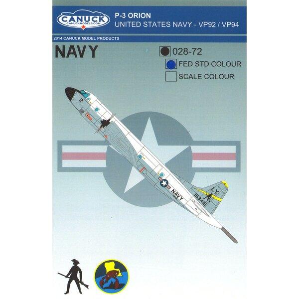 USN Lockheed P-3C Orion (FEDERALE STTANDARD) United States Navy P-3 Orion Progettato per il kit Hasegawa P3 Orion, questo set di