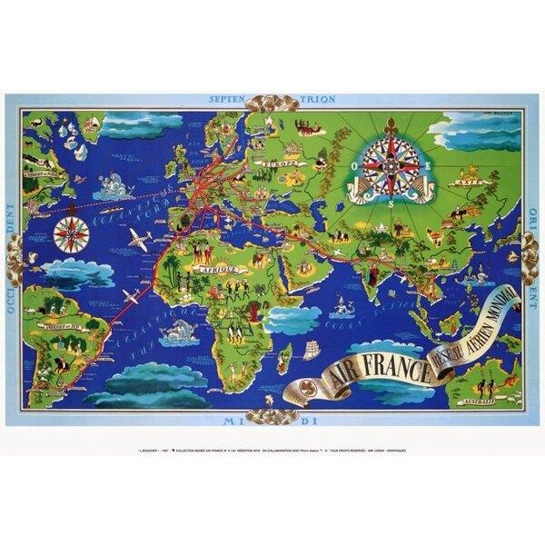 Air France - Blu Mappa del mondo - Lucien Boucher nel 1937